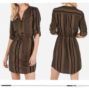 Express stripe tie waist long sleeve shirt dress